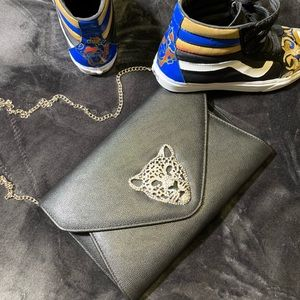 Black Clutch with Bling Panther head